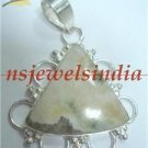 10.21gms Handmade Natural agate gemstone silver pendant