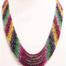 Handmade natural ruby,sapphire & emerald necklace