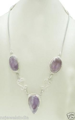 33.16 gm Designer Amythist Gemstone Silver Necklace