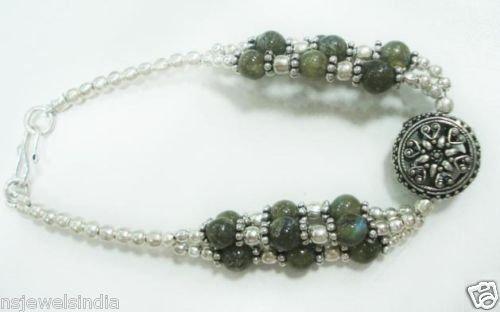 16.74 gm Stunning Labrodorite Gemstone Silver Bracelet