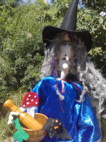 Gothic Witch, Cat, Pumpkin, wood kettle. Soft sculpture dolls. OOAK
