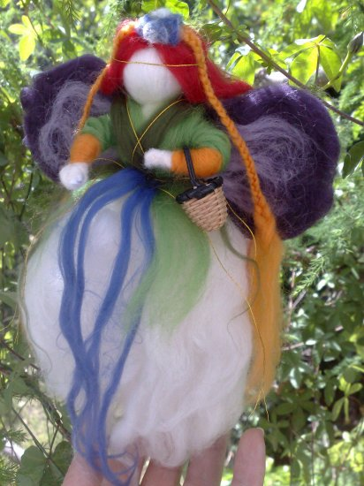 The Enchanted Forest Mobile Needle felted wool Fairy and Butterfly and Waldorf little elfs OOAK