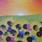 Sunflowers & Butterflies at Sunrise