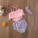 Baby Girl Kids 2pc Tassel Beach Bathing Suit sz 6M 12M 18M 24M