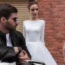 Long Sleeves Satin Bridal Wedding Party Dress