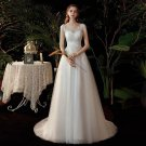 Lace Up Scoop Design Wedding Bridal Dress Gown