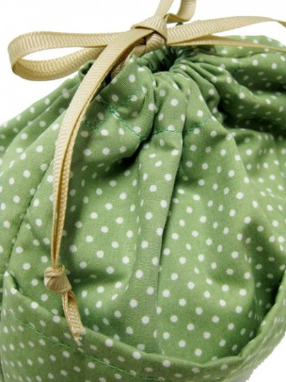D1 Leaf Dots of Drawstring Kinchaku TESAGE Purse Organizer, lined in water-proof micro fiber, Pur
