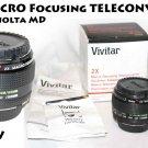 NEW Vivitar 2x Macro Focusing Teleconverter MD w/caps, case