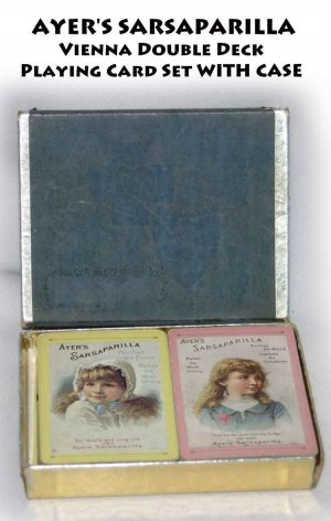 AYER'S SARSAPARILLA  Vienna Double Deck  Playing Card Set WITH CASE