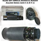 60-300mm Zoom MACRO Lens for MINOLTA f:4.0/5.6 by Sears like new in Box
