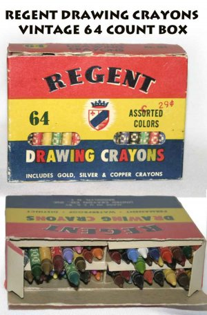 REGENT DRAWING CRAYONS VINTAGE 64 COUNT BOX -