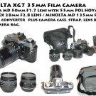 MINOLTA XG7 35mm Film Camera /Minolta MD 50mm F1.7 Lens , 135mm & 28mm plus
