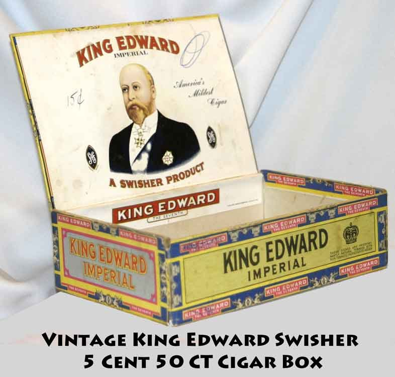 VINTAGE KING EDWARD SWISHER 5 CENT 50 CT CIGAR BOX -