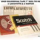 "4  USED RECORDING TAPE 7"" REEL TO REEL 2 LAFAYETTE & 2 SCOTCH"