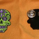 Day of the Dead pin green and purple soft enamel pin
