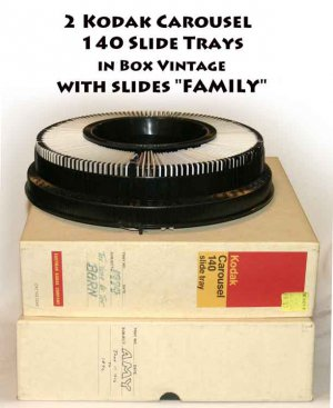 "!SOLD!  2 Kodak Carousel  140 Slide Tray in Box Vintage with slides ""FAMILY"""