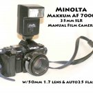 Minolta Maxxum AF 7000 - 35mm SLR Manual Film Camera w/50mm 1.7 lens & auto25 flash