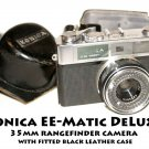Vinage Konica EE-Matic DeLuxe 35mm rangefinder camera  with fitted black leather case