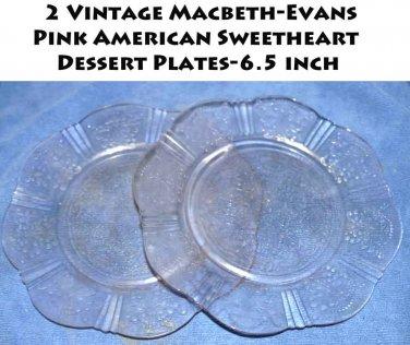 Vintage Macbeth-Evans Pink American Sweetheart 2  Dessert Plates-6.5 inch
