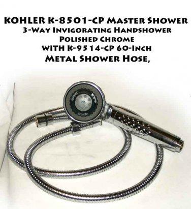 KOHLER K-8501-CP Master Shower 3-Way  Handshower, Polished Chrome & K-9514-CP 60-Inch Metal  Hose