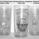 3 University of Kentucky UK Basketball Schedule 1985-86 1986-87 1987-88  Season Drinking Glass