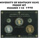 UNIVERSITY OF KENTUCKY NATIONAL CHAMPIONS  GOLD SILVER BRONZE PROOF SET NUMBER 110 1998