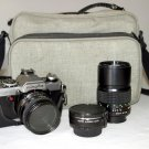 MINOLTA XG-7 WITH  LENSES ,PL FILTER, 2X CONVERTER, EYE CAP, BOBY CAP, SNAP CAP, &  CAMERA BAG