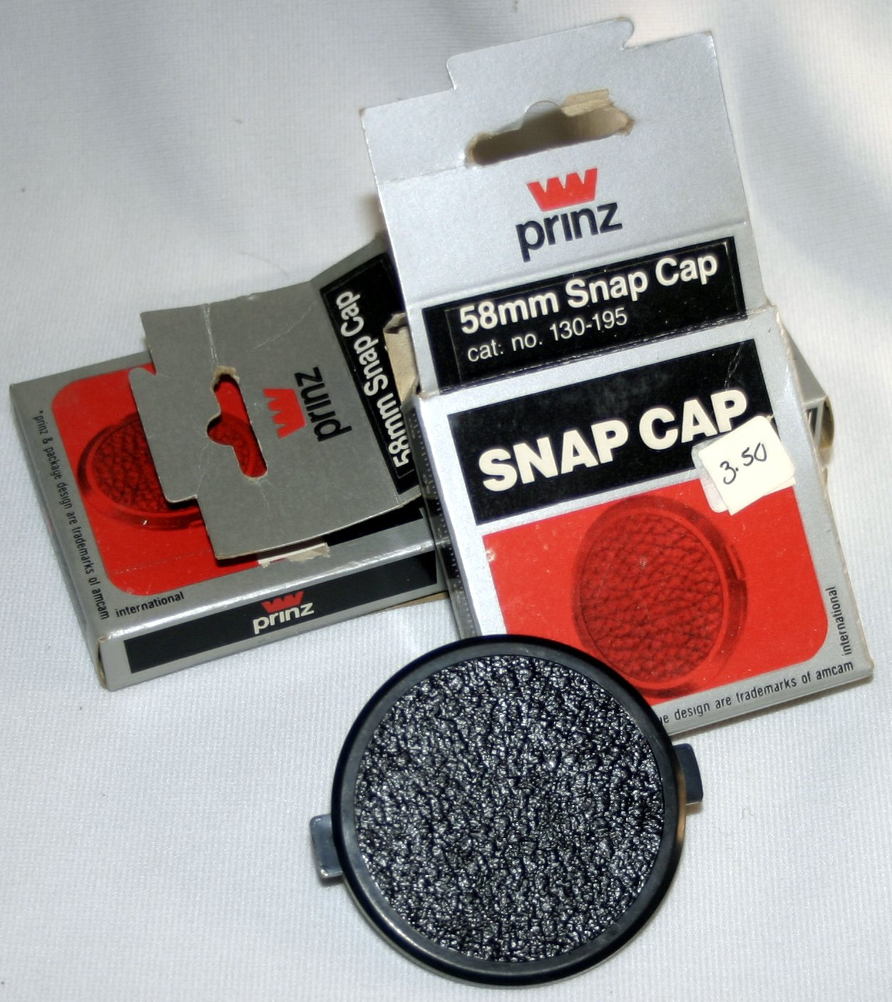 3 new Prinz 58mm Snap-on Front Lens Cap New cat.no 130-195 Cover For Canon Nikon Sigma Tamron
