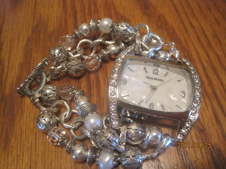 silver,rhinestone watch