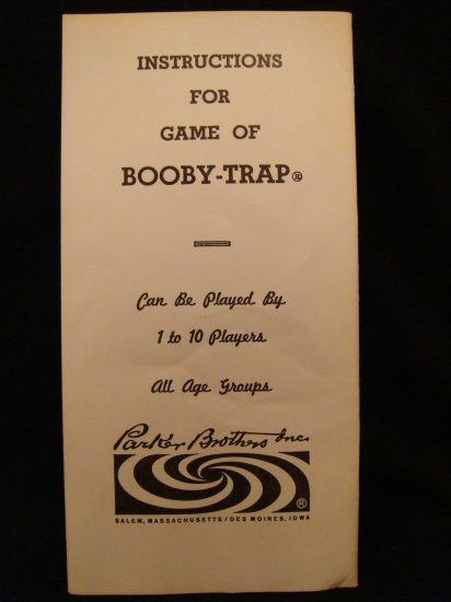 Booby Trap Game Instructions Parker Brothers