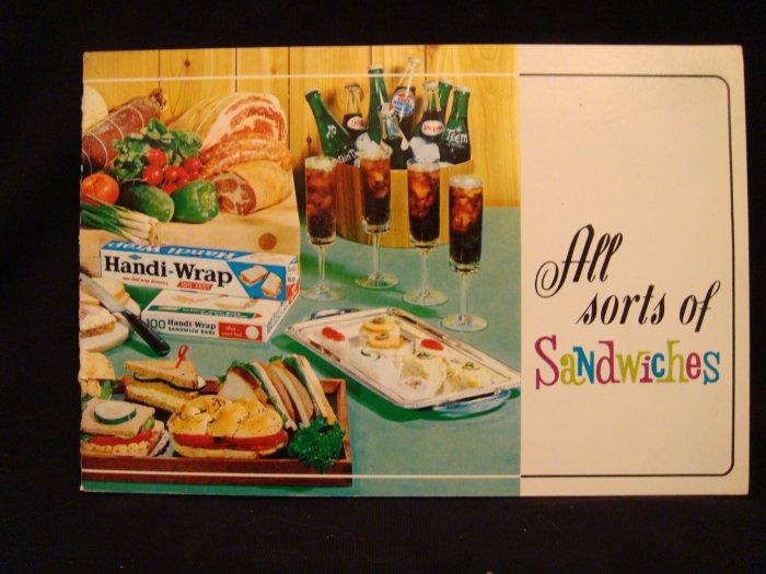 Handi-Wrap Recipe Booklet All Sorts of Sandwiches 1965