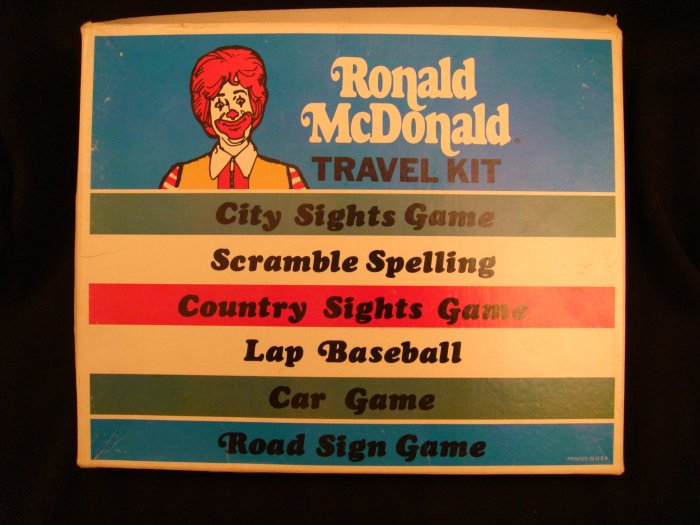 Ronald McDonald Travel Kit 1970s McDonalds