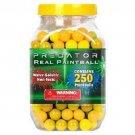 YK2002A  Predator .50 caliber paintballs 250 jar Splatballs YELLOW splat master flexball zball