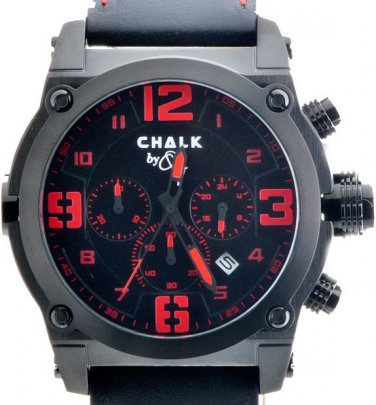 AW0154A  CHALK Quincy BLKROSE 46mm Watch Black Stainless Steel IP Case Red Accent Dial