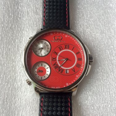 CC-BT CLASSIC-RED-SS  Curtis & Co Big Time Classic 54mm 3-Time Stainless Steel Red Watch  NO BOX
