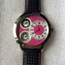 CC-BTW-50mm-PNK-SS   Curtis & Co Big Time World 3-Time 50mm Stainless Steel Ladies Women Watch