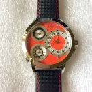 CC-BTW-50mm-RED-SS   Curtis & Co Big Time World 3-Time 50mm Stainless Steel Watch NEW!