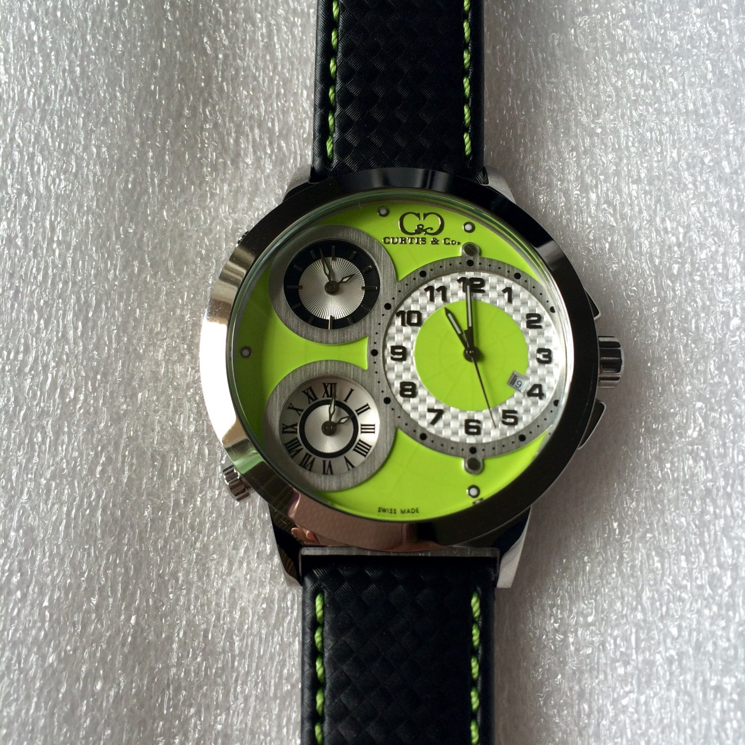 CC-BTW-50mm-GRN-SS   Curtis & Co Big Time World 3-Time 50mm Stainless Steel Watch NEW!