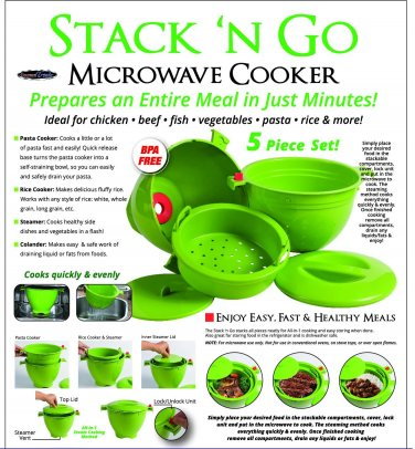 YK0045A  Stack N Go Microwave Cooker 5 piece Stackable Set