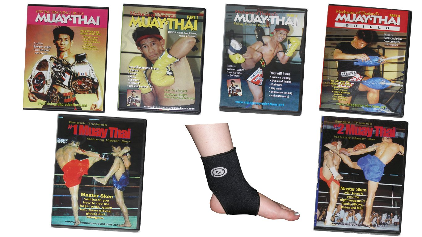 VD9913P  Muay Thai Kickboxing MMA Gift Set 6 DVDs + Ankle Support $195 Value!