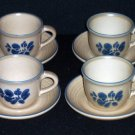 4 Pfaltzgraff FOLK ART Cups & Saucers