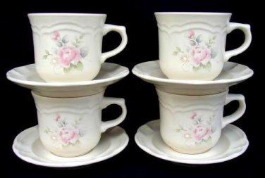 4 Pfaltzgraff TEA ROSE Cups & Saucers