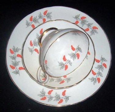 Vintage Crown Staffordshire TRIO Fine Bone China Cup & Saucer Dessert Set