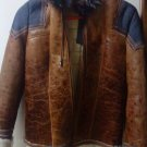 Real Raccoon Fur Patchwork Hooded Distressed Sheepskin Jacket Small