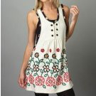 Floral Embroidered Scoop Neck Sleeveless Sweater Tunic Dress S