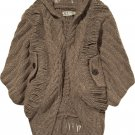 Elizabeth and James $595 Chunky Cocoon Brown Batwing Cardigan XS S