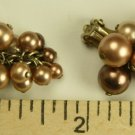 Vintage Dangle Cluster Beads Clip On Earrings, Clip On