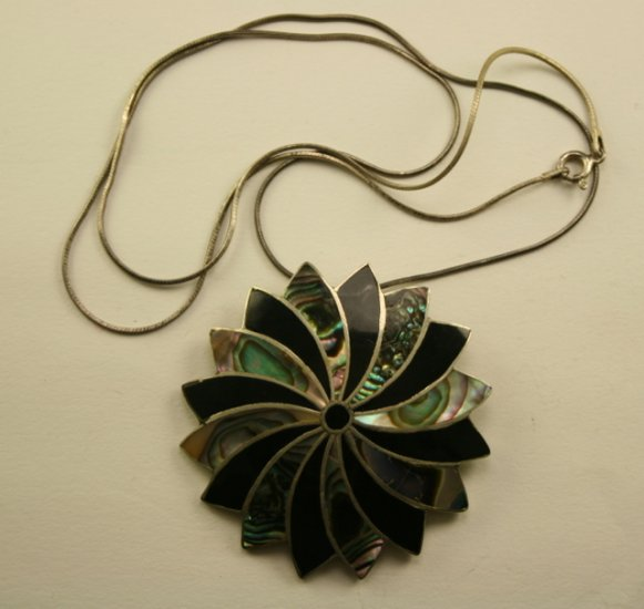 Vintage Sterling Necklace with Abalone & Onyx Pendant Brooch, Mexico Sterling Silver
