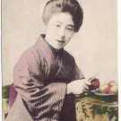 Antique JAPAN Japanese Postcard Hand-Colored GEISHA Beauty BIJIN #EG50