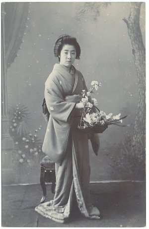 Antique JAPAN Japanese Real Photo Postcard GEISHA Beauty Flower #EG79